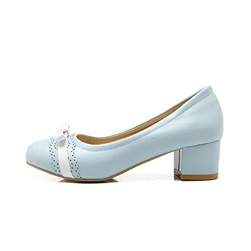 AgooLar Damen Spitz Zehe Niedriger Absatz Weiches Material Rein Ziehen auf Pumps Schuhe, Schwarz, 33