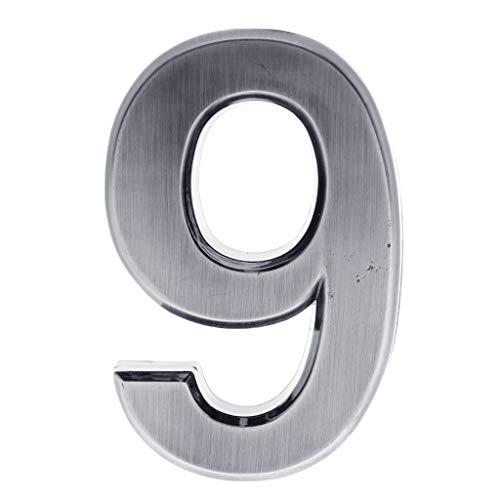 Homyl Silber Selbstklebende Zahlen Nummer Ziffern DIY Hausnummer 0-9 - Nummer 9