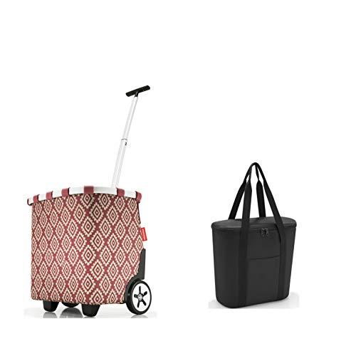 perfektes reisenthel Einkaufs-Taschen-Set 2tlg. reisenthel carrycruiser/Einkaufstrolley und GRATIS reisenthel Isotasche/thermoshopper in trendigen Designs (Diamond Rouge)
