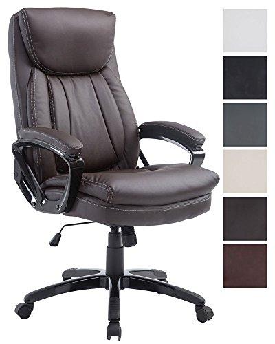 Clp sedia ufficio platon xl - poltrona direzionale in similpelle i poltrona studio con meccanismo di oscillazione i sedia scrivania ad altezza regolabile i portata max 180 kg i sedia girevole marrone