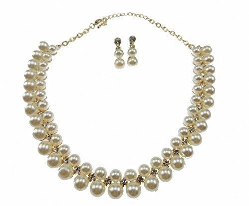 Glamour Girlz donna Vintage, placcato oro 18 k, con cristalli a goccia in finta perla &-Set di orecchini e collana