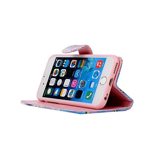 """Etche iPhone 6S/iPhone 6 4.7"""" Flip Cover Hülle, iPhone 6S/iPhone 6 4.7"""" PU Leder wallet Schutzhülle, niedlich bunt kreativ Mond Pfeil muster Handytasche Handyhülle Etui Tasche mit Standfunktion Kredit blau Löwenzahn"""