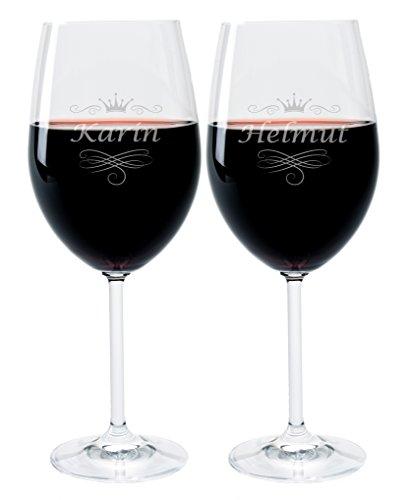 2 Leonardo Weingläser mit Gravur des Namens und Motiv 'Krone' Wein-Glas graviert