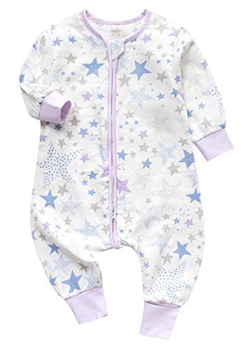 Lila Baumwoll-pyjamas (Chilsuessy Baby Schlafsack mit Fuesse Sommerschlafsack mit Beinen fuer Jungen Maedchen Unisex Baby Pyjamas Overall Schlafanzug Baumwolle, Lila Sterne, 110/Baby Hoehe 95-105cm)