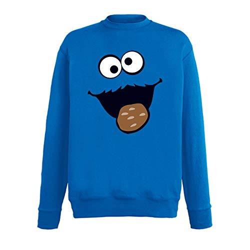 Jimmys Textilfactory Sweatshirt Krümelmonster mit Keks Karneval Kostüm Sesamstraße Herren 116-5XL Gruppen-Kostüm Rosenmontag Party Feier, Größe:XS, Farbe:Royalblau