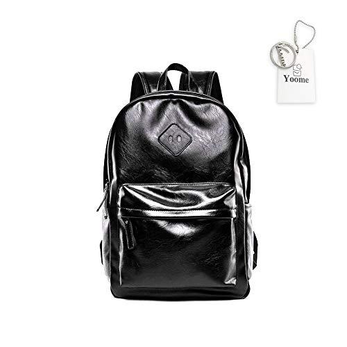 Yoome Anti-Diebstahl-Rucksack 35,6 cm Laptop Business Slim College Schulter Rucksack Wasserdicht PU Leder Rucksack für Herren