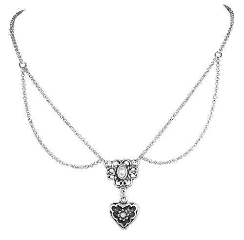 LUISIA Halskette Cecilia mit Perlenblume und Herzanhänger - Silber - Trachten Dirndl Schmuck