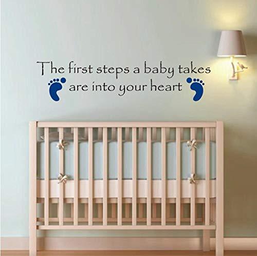 Wandaufkleber Zitat Fußabdrücke Kindergarten Baby-Dusche, Großhandel niedlichen Baby Kinderzimmer Dekor10 * 60 cm ()