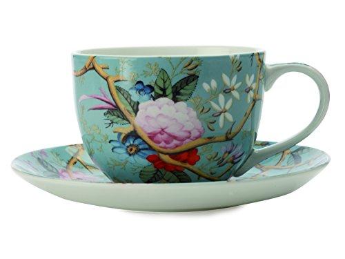 Maxwell & Williams Victorian Garden Kilburn Coupe Tasse und Untertasse, Blau, 250 ml (Blau China Tasse Und Untertasse)