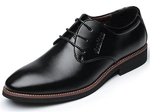 PPXID Hommes Cuir à Lacets D'affaires Oxfords Chaussures Bout Pointun-noir 44