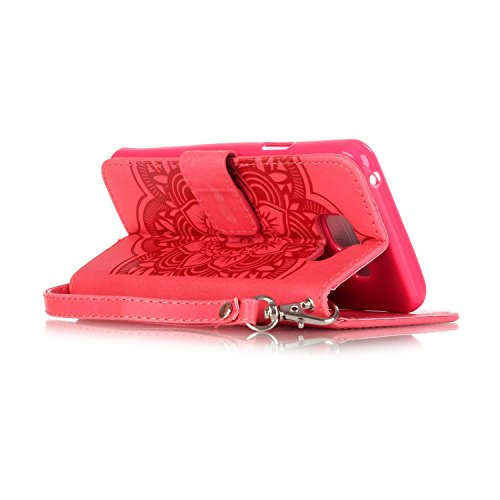 C-Super Mall-UK Apple iPhone 6 Plus / 6s Plus 5.5 Inch hülle: Qualität Exquisite Funkeln Bling Strass Geprägte Traumfänger und Blumenmuster PU-Leder-Mappen-Standplatz -Schlag-hülle für Apple iPhone 6  red(bling)