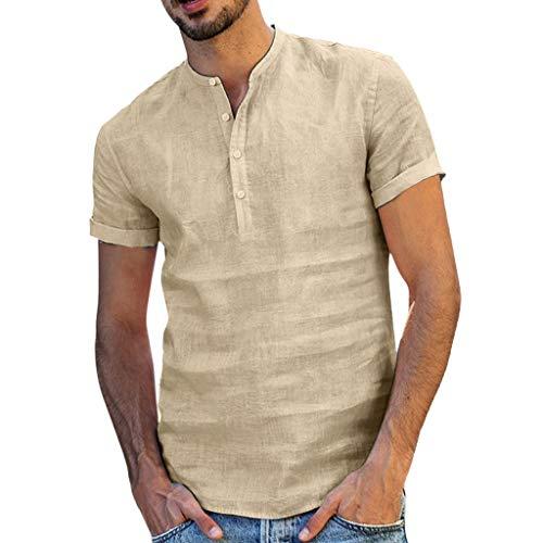 Beikoard Herren Sommer Hemd Regular Fit Oberteile Vantage Männer Casual Kurzarm Baumwolle Leinen Shirts Fashions Männlichen Lose Taste-bis Henley Shirts (Khaki, 2XL)