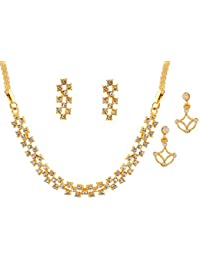 Touchstone Combo Of A Trendy Necklace Set & A Pair Of Modern Earrings For Women