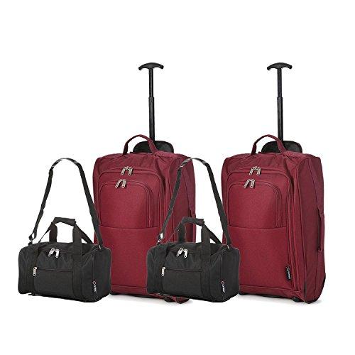 Set di 4 - (2) Trolley/Bagaglio a mano 55x40x20 e (2) Borsa da secondo bagaglio a mano in cabina 35x20x20 - Misure perfette per Ryanair (Nero/Rosso)