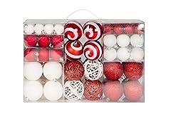 Idea Regalo - Lifestyle & More 100 Palline di Natale 2 Colorate di Bianco e Rosso a Ø 6 cm con Ganci abbinati