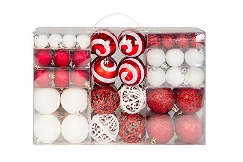 Lifestyle & more 100 palline di natale 2 colorate di bianco e rosso a Ø 6 cm con ganci abbinati
