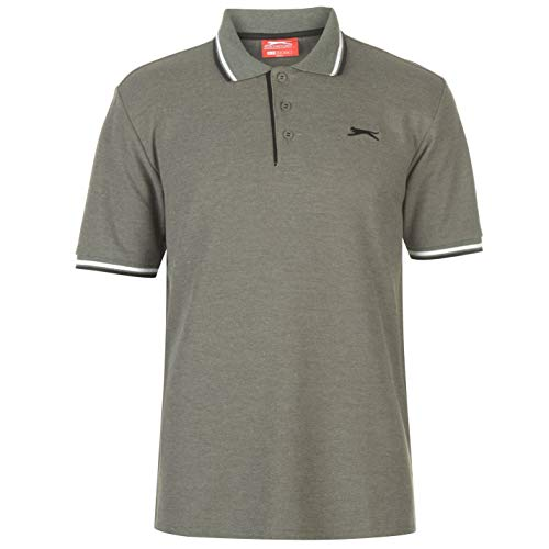 Slazenger Tipped Herren Polo Poloshirt T Shirt Kurzarm Classic Fit Tee Khaki Marl L -