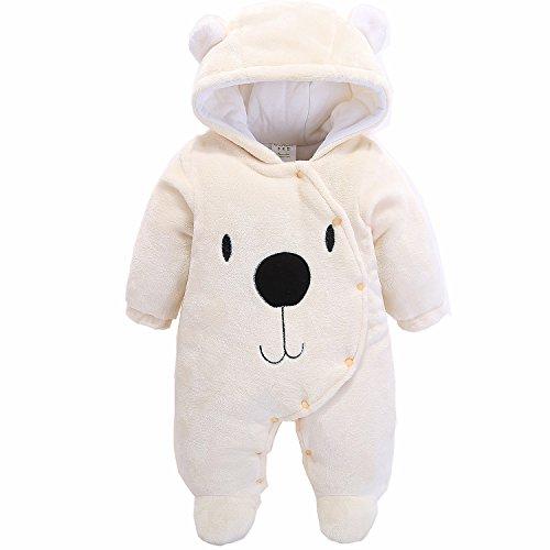 Jumpsuit Bebé , Morbuy Unisexo Bebé Recién Nacido franela Mameluco Invierno Ropa Una Pieza Pijamas Monos Caricatura Trajes (59, Oso beige)