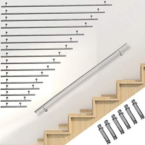 Melko gerader Handlauf, Treppengeländer für Innen und Außen, aus V2A Edelstahl zur einfachen Befestigung an der Wand, Ø 4,2 x 130 cm lang