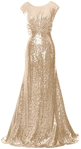 MACloth Elegant Sequin Long Bridesmaid Dress Cap Sleeve Formal Party Prom Gown Champagne