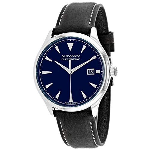 Movado Men's Heritage 40mm Black Leather Band Steel Case Automatic Blue Dial Analog Watch 3650054