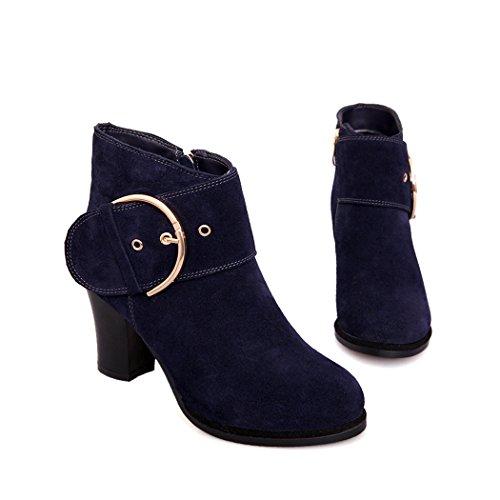 ZQ@QXL Europa e gli Stati Uniti codice metallo calzature della fibbia della cintura di sicurezza e scarpe con i tacchi alti stivali scrub spessa blue