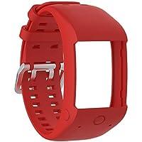 Conquro Anti-Hebilla de Aire estomas de Doble Color Correa Accesorios de Pulsera de Silicona Deportiva para Polar M600 Fitness Watch (Rojo)