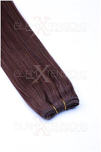 Tresse/Weft Echthaartresse GlamXtensions glatt 100{25085d0953efd0e68da8ea774ffca6e83eb659b1a206f99ce4225e3cc765d4a6} indisches Echthaar/Human Hair - 60cm in der Farbe #06 Mittelbraun