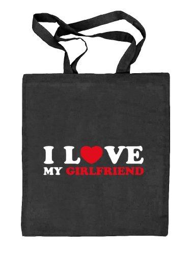 Shirtstreet24,I LOVE MY GIRLFRIEND 2,Valentinstag Valentine's Day Stoffbeutel Jute Tasche (ONE SIZE) schwarz natur