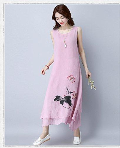 Die Frauen eleganter Blumendruck Rundhalsausschnitt Ärmel Unregelmäßige  Baumwollleinenkleid Trägerkleid Rosa