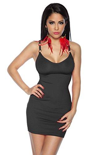 Minikleid Kleid V-Ausschnitt Einheitsgröße für S und M - Schwarz