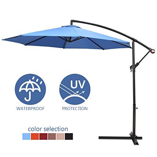 COSTWAY 2.7M Outdoor Parasol Sun Shade Cantilever Banana Hanging Umbrella Patio Garden(Blue)