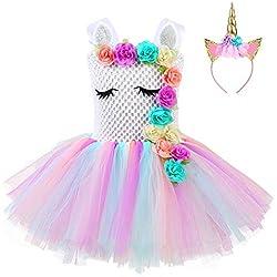FONLAM Vestido de Bautizo Fiesta Niña Bebé Disfraz de Unicornio Princesa Tutú Vestido Infantil Flores Carnaval Niña (11-12 Años, Flores)