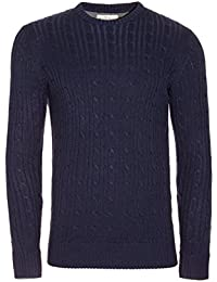 Brave Soul Mao Hommes Pull Tricot A Torsades Pull Col Rond Haut