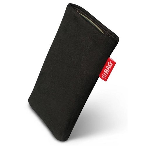 fitBAG Folk Schwarz Handytasche Tasche aus feinem Wildleder Echtleder mit Microfaserinnenfutter für Samsung SGH-J150