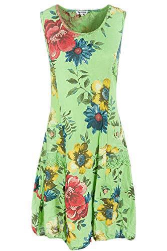 PEKIVESSA Damen Leinenkleid mit Blumen Sommerkleid Knielang Lindgrün 38 (Herstellergröße M) (Leinen Damen-kleider 100)