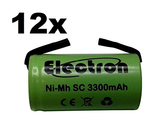 12X Batteria Pila NI-MH SC 3300mAh 3.3Ah 1,2V con lamelle linguette a saldare per pacchi batterie trapani torce allarmi