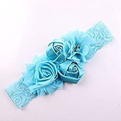 Shabby Lace Cute Baby Girl Bow Flower Headband(Turquoise Blue)