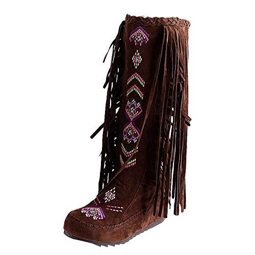 YWLINK Mode Flache Schuhe Stickerei Damen Warm Bequem Quaste Stiefel Flache Schuhe Lange Stiefel Winter Kniehohe Stiefel