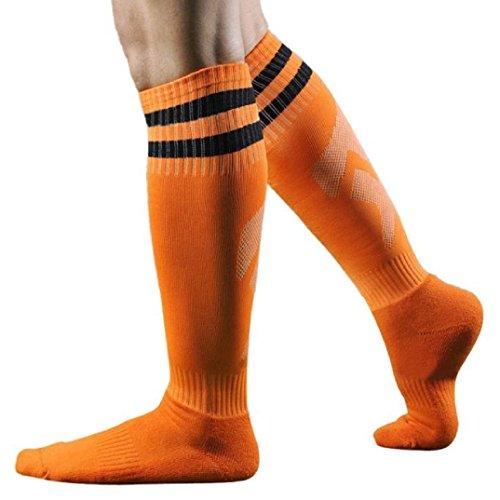Kolylong® 1 Paar Männer Herren Fußball Gestreift hohe Socken Eishockey (Orange) -