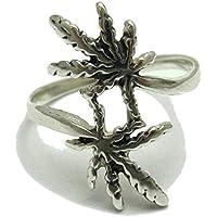 Anello in argento 925 marijuana