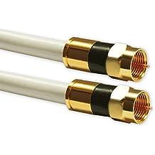 5m Sat Kabel Koaxialkabel Digital Innenleiter Kupfer min. 94 dB - max. 140 dB mit F Kompressionsstecker vergoldet