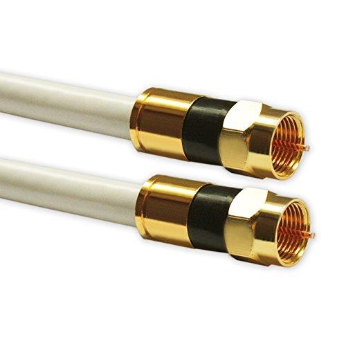 5m Sat Kabel Koaxialkabel Digital Innenleiter Kupfer min. 94 dB - max. 140 dB mit F Kompressionsstecker goldfarben