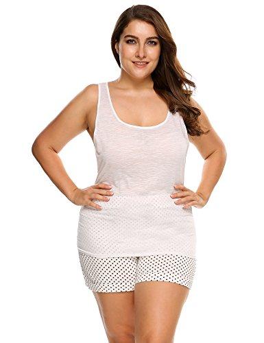 EKOUAER Damen Übergröße Sommer Baumwolle Atmungsaktiv Camisole Rundhalsausschnitt Racerback Tank Top Pyjama Top - Weiß - X-Groß -