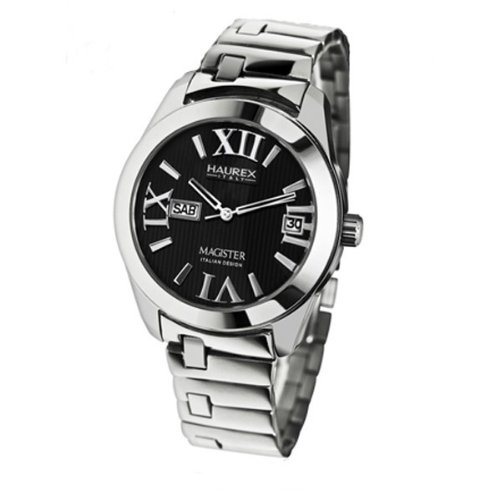 Haurex Italy Ladies Watch XA356DN1 Magister L with Black Dial and Silver Stainless Steel Strap