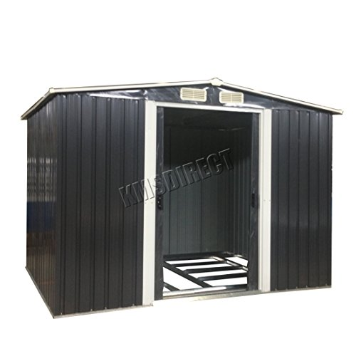 WestWood Garden Shed Metal Apex Roof 10FT X 8FT Outdoor Storage With Free Foundation Anthracite and WhiteoxHunter Garden Shed Metal Apex Roof 10FT X 8FT Outdoor Storage With Free Foundation Green