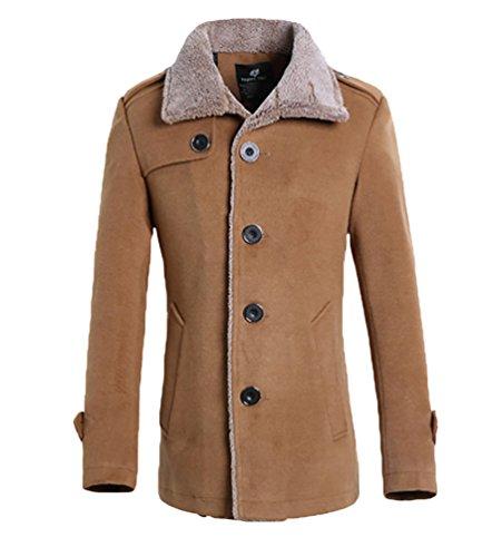 YiJee Uomo Invernale Taglia Grossa Solido Colore Caloroso Cappotto Cachi