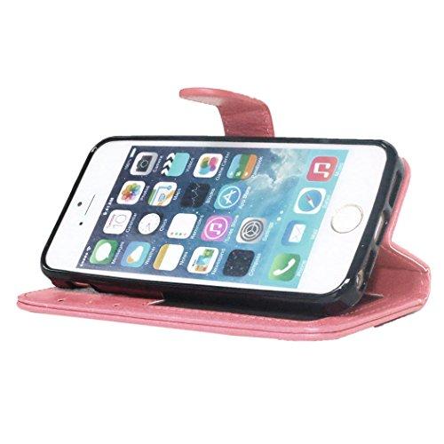 Beiuns pour Apple iPhone 5 5G 5S / iPhone SE (4 pouces) Étui en Simili cuir Housse Coque - K124 noir K123 rose clair