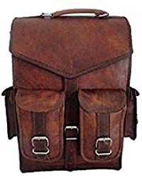 Genuine Leather Vertical Back Pack Messenger Bag Brown BY Bag House - B07CBMDM4D