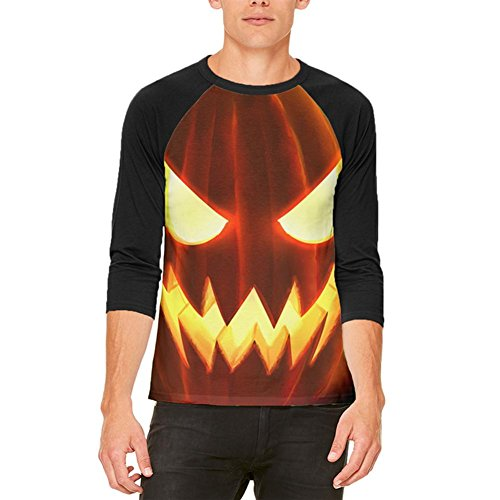 -O-Lantern Kostüm Herren Raglan T Shirt weiß-schwarz MD (Scary Jack O Lantern)